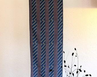 Vintage scarf, Blue Silk scarf, Elegant scarf, Foulard, Striped scarf, Colorful scarf, Headband, 90s, Headscarf, Boho scarf, Hippie, Italian