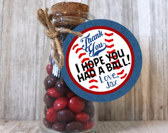 Thank you tags labels for baseball themed birthday party decorations for party farvor gift bag or goodie bag