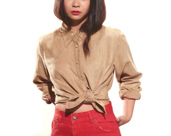 Vintage 70s tan suede  blouse shirt - UK 10
