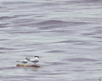 Birds, water, beach art, coastal art, original, coastal, lowland, Together