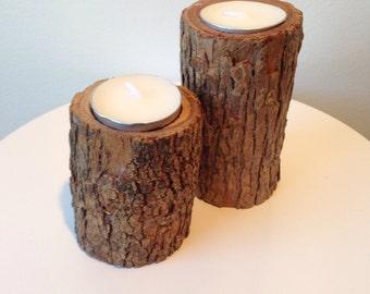 Rustic timber tea light candles - Set of 2