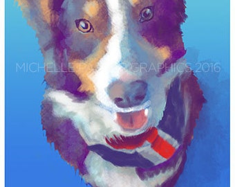 Custom Pet Portrait Digital Watercolor