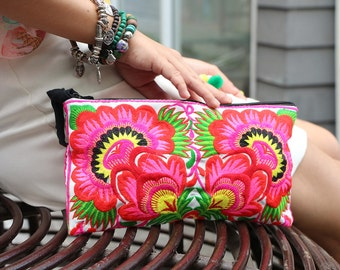 Lovely Flower Clutch With Embroidered Fabric
