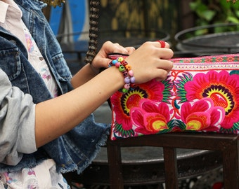 Women Bag Clutch With Embroidered Fabric