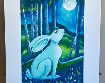 Enchanted unframed PRINT, image size: A4 on A3 paper, approximately. From a watercolour painting by Kate Cridland. An original gift.