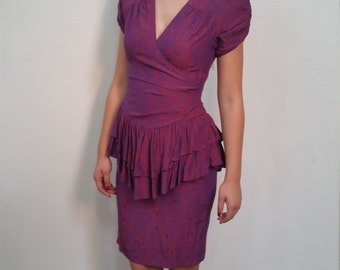 GRAND OPENING SALE 80's Prom Dress. Peplum Dress. Burgundy and purple party dress. New Year's Eve. Size Small