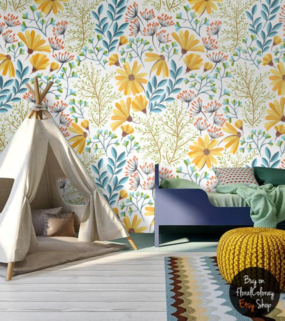 Peel and stick bohemian spring floral wallpaper removable Floral peel and stick wallpaper