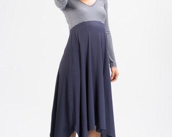 Maternity Blue/Grey Stripe Midi Dress - Plus Size Dress - Long Sleeves Maternity Dress - Size Range from XS up to 8XL