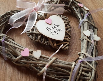 Personalised Wicker Heart Vintage Christening Gift New Baby Gift Baptism Gift Decoration Birthday Present Nursery Baby's Room