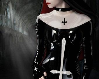 Fine Art Giclee print or canvas print,gothic,dark art,goth,vampier,occult, latex2