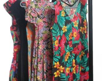 Vintage Wholesale Dresses 1980's Five Floral Velvet Dresses