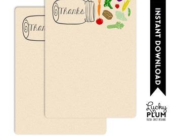 Farmers Market Thank You Card / Organic Thank You Card / Fruit Vegetable Thank You Card / Rustic Thank You Card / Mason Jar Thank You Card