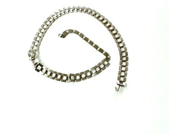 vintage silver chain belt . 1960s / 1970s thin belt, square links book chain