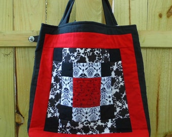 Quilted Tote Bag - Red, White and Black