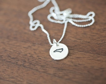 Tiny North Carolina Necklace Silver North Carolina Necklace State Charm State Necklace NC Small State Charm
