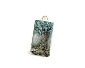 Winter Tree of Life - Sculpted Polymer Clay - Rustic Woodland Green Aqua Silver