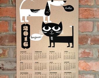 SALE - 2016 Wall Calendar: Cat and Dog Screenprint 2016 Calendar - Hand Printed Silkscreen Calendar Illustration Art