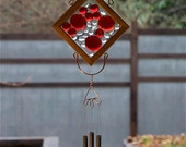 Wind Chime Red Glass Cedar Copper Brass Kaleidoscope Suncatcher