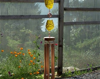 Wind Chimes Sea Glass Large Copper Chimes beach glass stained glass windchime