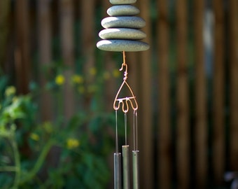 Wind Chime Beach Stone Brass Chimes Windchimes