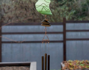 Wind Chime stained glass, beach glass, sea glass, copper, beach stones, Green