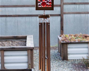 Copper Wind Chime, Red, Purple Glass Suncatacher Windchimes