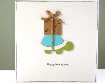 Personalised New Home Card - Funny housewarming cards - Turtle happy 1st new home card - House moving good luck - Leaving home travelling