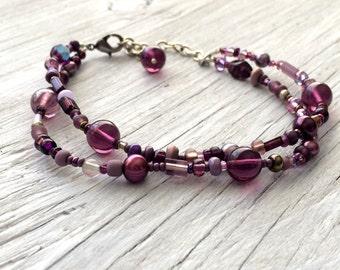 Purple beaded bracelet - double strand beaded bracelet - freshwater pearls and glass beads- adjustable.