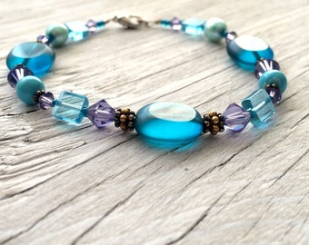 Beaded Bracelet - aqua blue beaded bracelet with bali silver accents