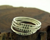 Tiny Stacking Posey Ring - custom made and personalized ring with your word choice in sterling silver by Kathryn Riechert (Tiny Text)