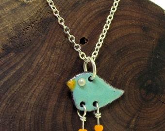 Little Bird Charm Necklace - colorful enameled copper birds by Kathryn Riechert