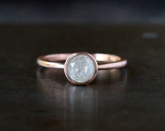 Icy Diamond Ring, Natural Color One Carat Diamond, Unique Engagement Ring, Rose Gold Diamond Ring, 14k Rose Gold Band, Conflict Free