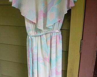 Vintage 70s 80s A. J. Bari for Bonwit Teller Ruffle Collar Pastel Ribbon Belted Dress Size S/M