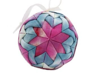 Quilted Christmas Ornament Ball - 3 inches in Diameter - Hand Tie Dyed Fabrics in Shades of Magenta Pink Slate Blue - Baby Shower Gift Idea