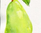 Pear watercolors paintings original, green pea, leaf original watercolor painting, pear decor, pear artwork, pear painting, kitchen decor