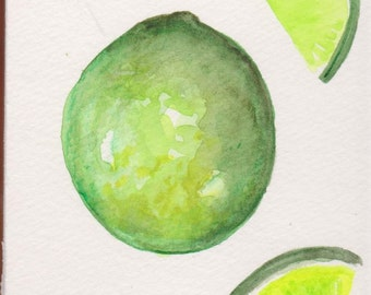 Lime watercolor painting original, limes painting, lime artwork. limes painting, kitchen decor, food illustration 4 x 6  painting
