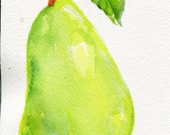 Pear watercolors paintings original, green pea, leaf original watercolor painting, pear decor, pear artwork, pear painting, kitchen decor