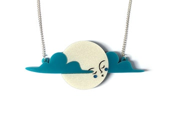 Moon Necklace -  pearl acrylic laser cut necklace platinum pearl pearlised and teal blue clouds moon lady hand painted