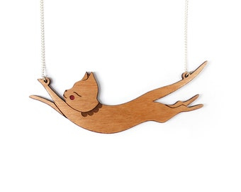 Jumping Cat Necklace-  Cherry wood laser cut illustration - cat jewellery jewelry