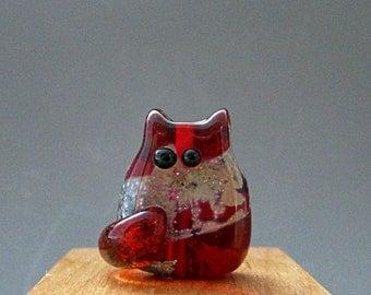 Cat Bead Handmade Lampwork Focal - Angela Itty Bitty FatCat