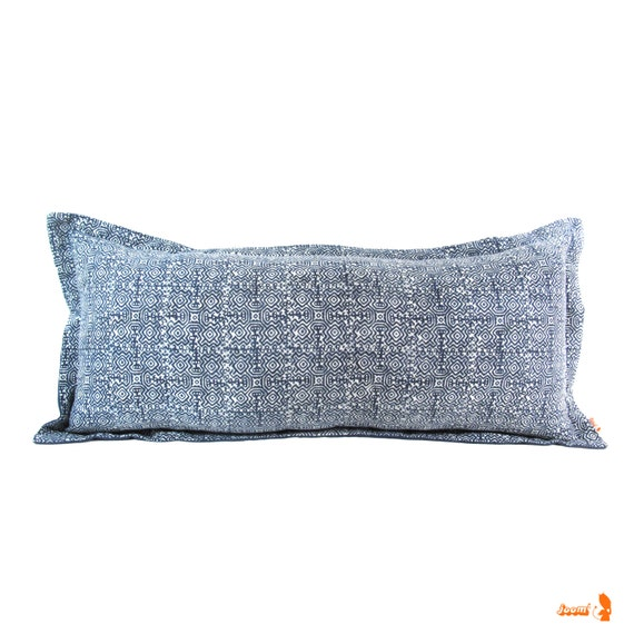 Long Decorative Lumbar Pillow : Vintage Blue Indigo Batik Long Lumbar Pillow Bohemian