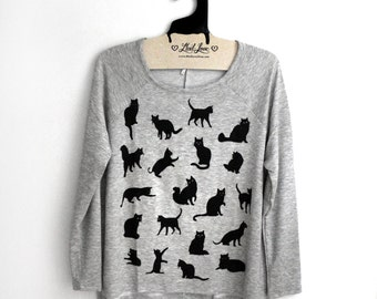 Small- Heather Gray Tri-Blend Long Sleeve Raglan Top with Cat Pattern Screen Print