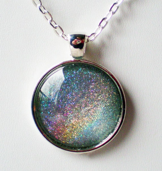 Ice Blue Holographic Nail Polish Necklace Jewelry ILNP Top