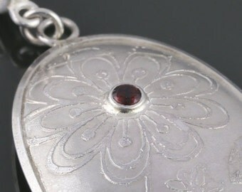 Etched Sterling Silver Pendant. Floral Design. Red Garnet Accent. Genuine Gemstone. January Birthstone. One of  Kind. Necklace. s16p006