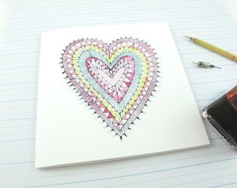 Square Greeting Card: Heart Rug