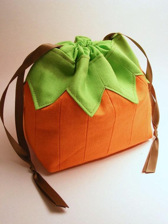 A Pumpkin Named Pouchy -  Drawstring pouch, omiyage, fall, autumn, japanese, purse, food