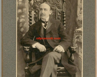 Handsome dandy fashion gentleman mustache figural chair vintage photo NY