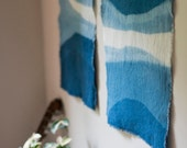 Hand Dyed Linen and Indigo Wall Hanging in Sea Crest, Anna Joyce, Hand Dyed, size medium