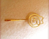 Shawl Pin, Spiral Cat Shawl Pin in Brass