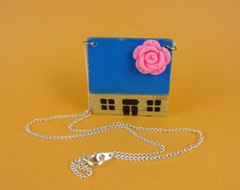 House Necklace - vintage wooden toy house with blue roof and pink flower, home sweet home, retro cute kitsch, cottage chic, granny chic, fun